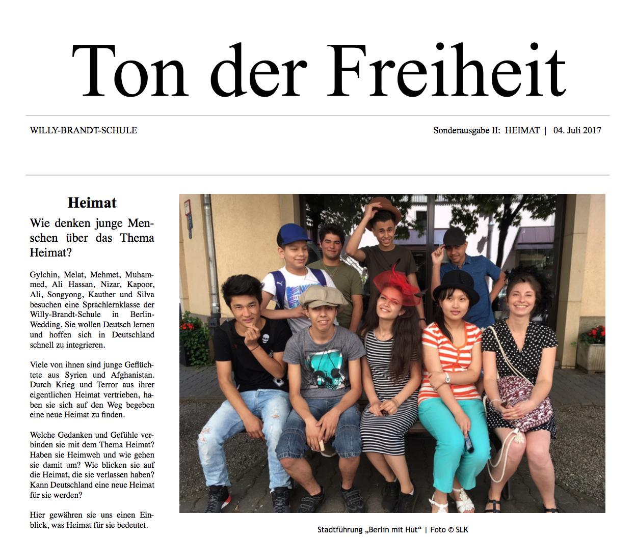 Schülerzeitung Ton der Freiheit